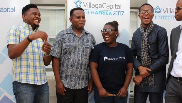 African fintech startups - Peer selected startups in the 2017 Village Capital Fintech Africa program, PiggybankNG and Olivine Technologies. Photo - Village Capital